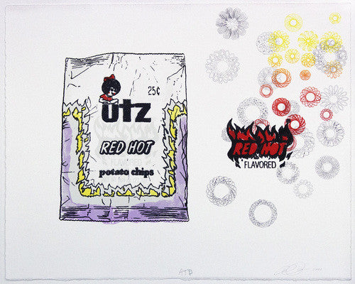 Flavored Amze Emmons Lithograph Stone Fox Editions UTZ potato chips red hot branding word play soft colors made in Philadelphia local artist the print center