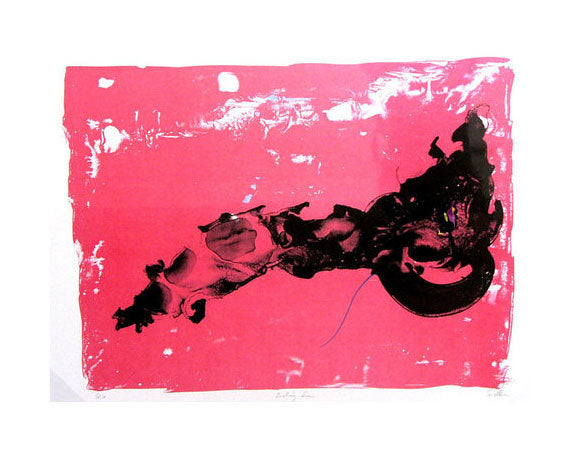 Evolving Form Ed Colker Lithography ink bright pink abstraction flowing forms the print center