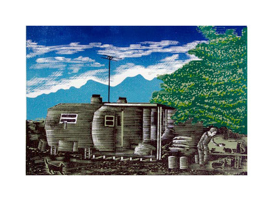 Feed the Kitties Anthony Lazorko Woodcut clouds trailer stray cats narrative printmaking the print center