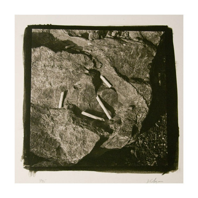 Four Sticks on Rock Platinum/Palladium Print rocks nature made in philadelphia black and white abstraction James Syme