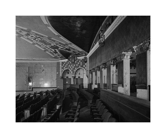 Auditorium Detail, Entry from Lobby Area Lansdown Theatre Made in Philadelphia Michael Froio Carbon Pigment Print Photography Abandoned theatre Landscapes The Print Center