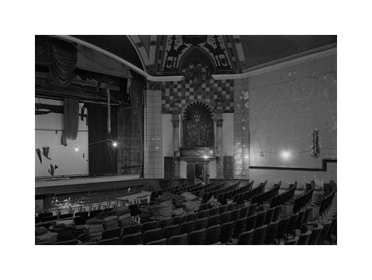 Auditorium Detail, South East Corner Balcony Lansdowne Theatre Carbon Pigment Print Photography Michael Froio Made in Philadelphia Landscapes Black and White Photography