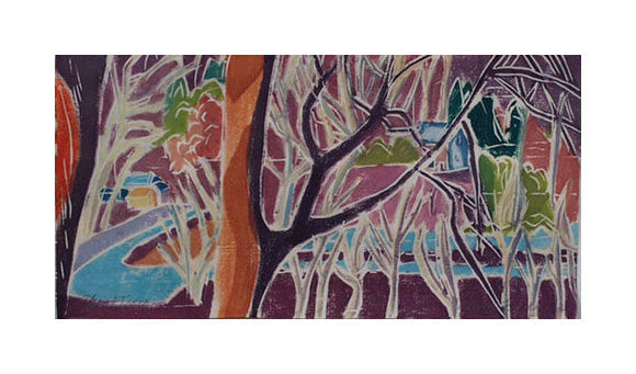 Ghost Trees White line woodcut Aline Feldman the print center colorful trees