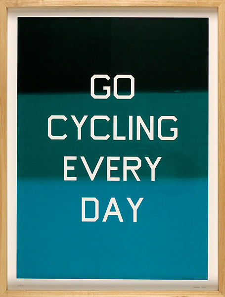 Go Cycling Every Day biking Kayrock Screen printing exercise word based artwork silkscreen the print center
