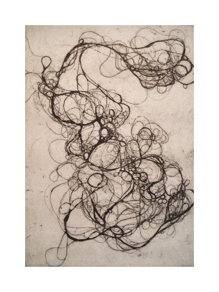 Hairlines 2 Andrea Cote Etching the print center hair as swirls and circles contrast black and white abstraction bubbles
