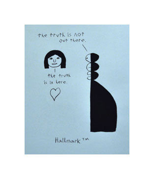 Hallmark Andrew Jeffrey Wright Silkscreen the print center illustration funny making fun of hallmark blue and black heart truth perspective for kids