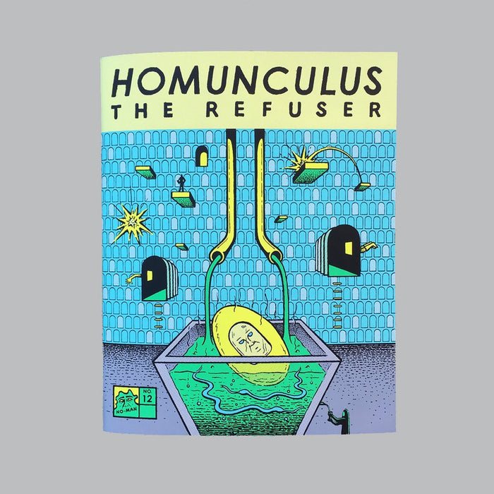Homunculus The Refuser Book Zine Rodger Binyone the print center graphic novel illustration water science mechanisms gears factory green blue yellow