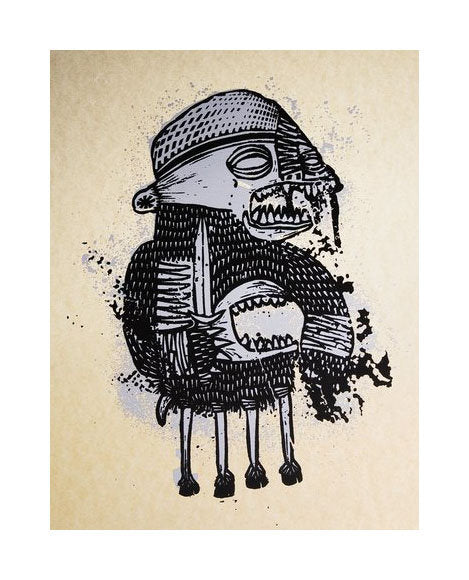 Hooved Creeper Silkscreen Bill McRight the print center Philadelphia fantasy Armor knight mouth monster