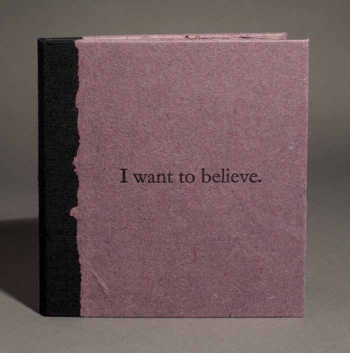 I Want to Believe book Frank Hamrick the print center handmade paper purple paper letterpress hand bound