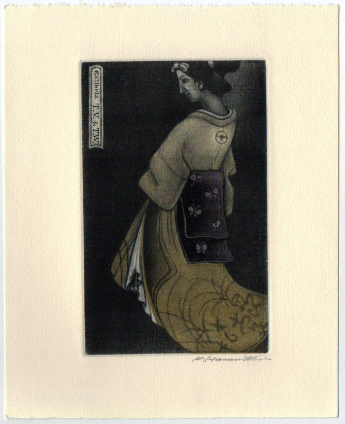 Autumn Girl (Ex Libris) Mezzotint Katsunori Hamanishi The Print Center Woman Traditional Garments International Culture