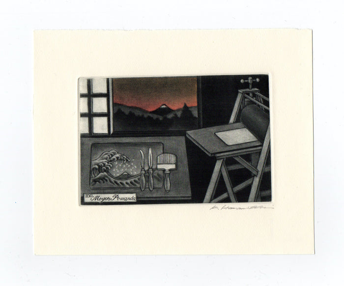 Mezzotint Studio (Ex Libris) Katsunorit Hamanishi print making process inception the print center Philadelphia Japanese art tradition style studio practice