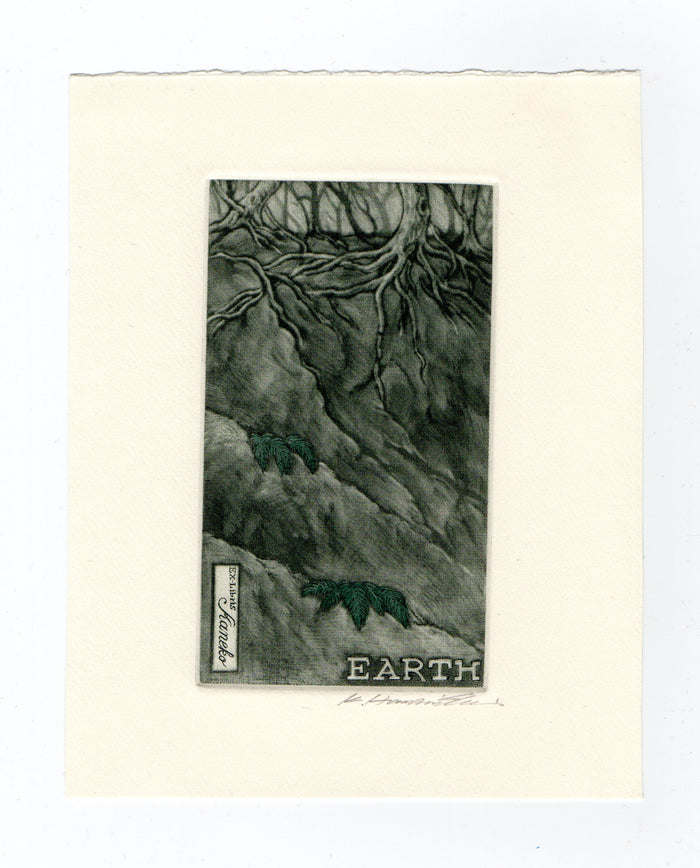 Earth (Ex Libris) Katsunorir hamanishi mezzotint the print center Asian style art land nature