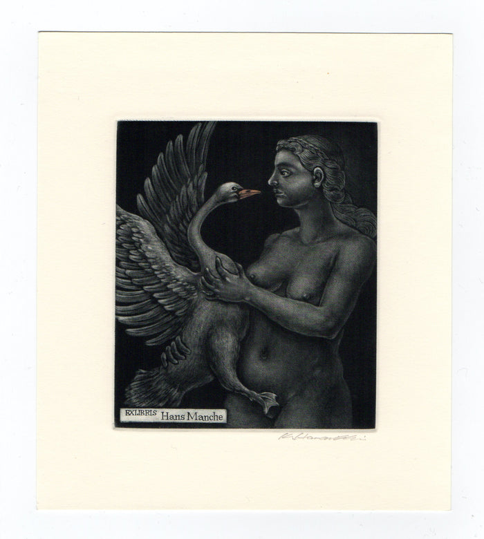 Leda and Swan No.3 (Ex Libris) Katsunori Hamanishi Mezzotint swan woman japanese style art female nude the print center gallery Philadelphia