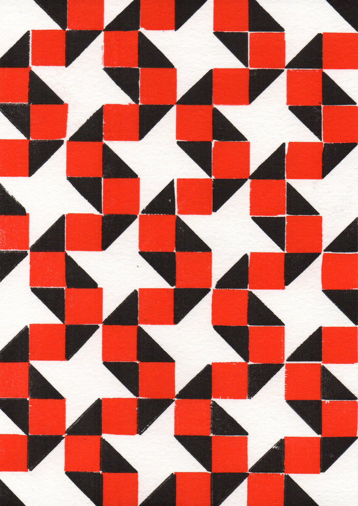 Intergalactic DNA Purgatory Pie Press letterpress the print center red and black optical illusion squares and triangles zig zags