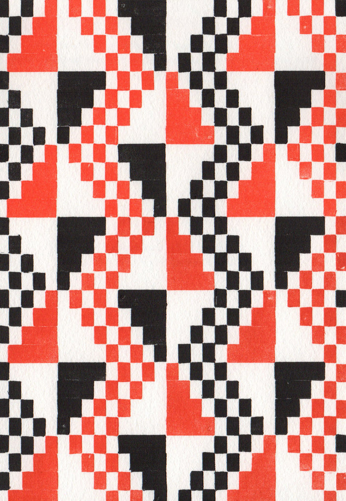 Djade al-Mughara 9,000 BC Tesselation Letterpress Purgatory Pie Press Optical Illusions the print center zigzags red and black checkerboard