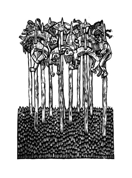 Imapler Woodcut Relief Bill McRight made in philadelphia the print center spears people