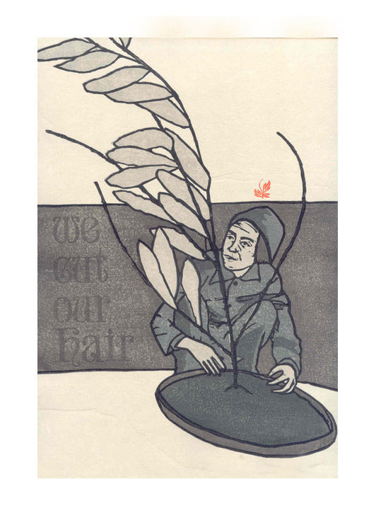 Fall woodcut letterpress Katie Baldwin story text people plants made in philadelphia the print center