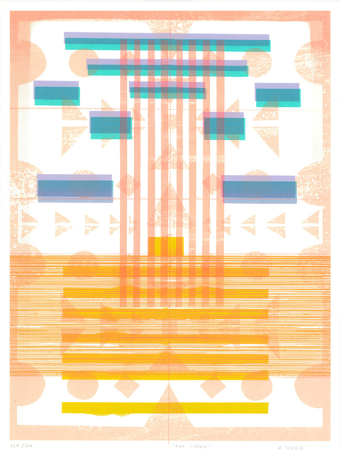 Kristen Schiele: Hot Tickets Kayrock screenprinting silkscreen the print center rectangles orange and blue color theory optical illusions glitch art