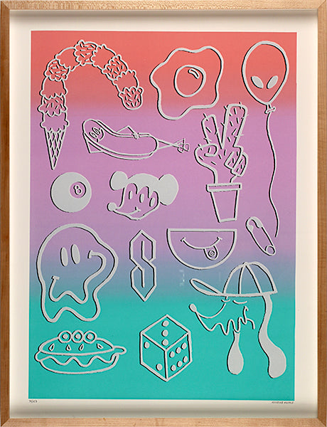 Chill Kristine Reano Kayrock Screenprinting silkscreen the print center emoticons trendy alien egg dice icecream smiley face