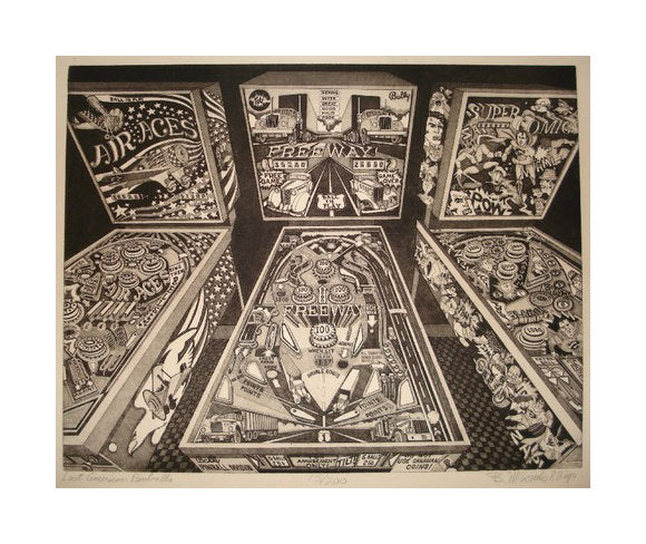 Last American Pinballs Intaglio Bruce McCombs pinball games arcade games america the print center black and white photography