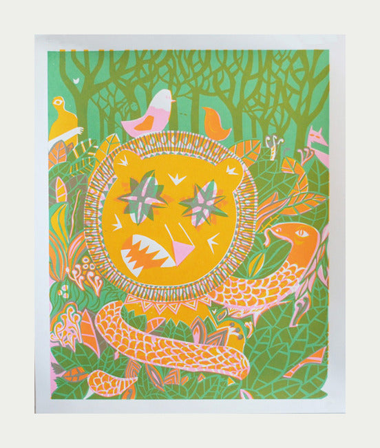 Indestructible Life Tim Gough Silkscreen the print center childrens illustrations animals snakes jungle