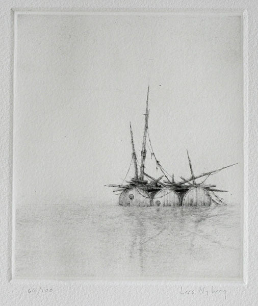 Raft Intaglio Lars Nyberg sticks and water makeshift raft sos the print center dry point