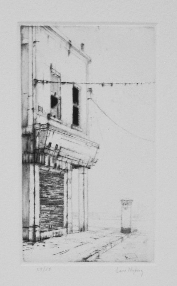 Chapel Street Dry Point Intaglio Lars Nyberg city buildings The Print Center