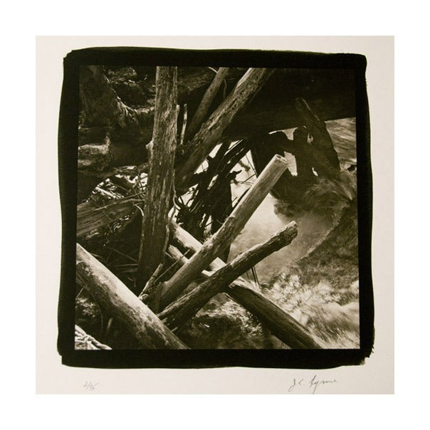 Log Jam, Delaware River James Syme Platinum palladium print the print center black and white abstraction nature logs sticks photography