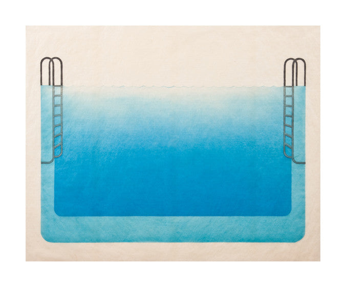 Double ladder pool Kristen Martinicic Monotype the print center pool blue water ladders symmetry
