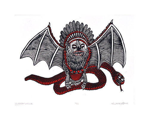 No Reservations Bill McRight silkscreen made in Philadelphia bat snake fantasy animal