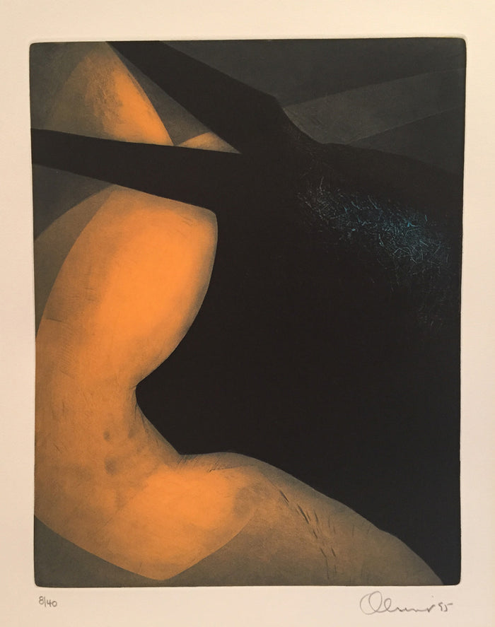 Midday Perry Oliver Etching the print center color based abstraction orange black bull body