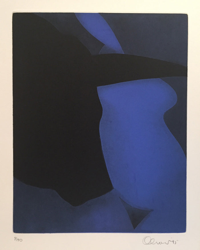 Midnight Perry Oliver Etching blue chalky blue figure female form bull color based abstraction the print center Philadelphia