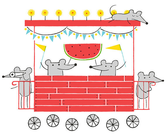 Mouse Caboose Greg Pizzoli the print center for kids made in philadelphia silkscreen mouse and watermelon