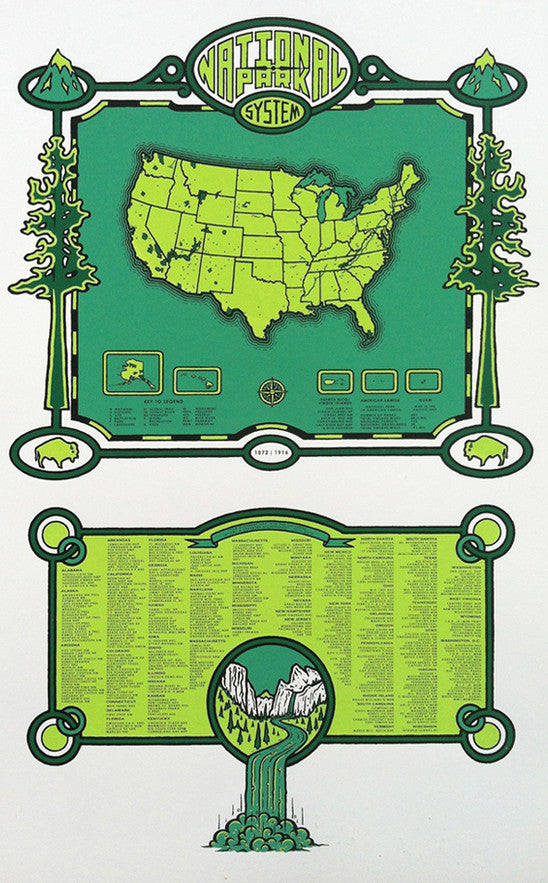 National Park Systems Rodger Binyone made in philadelphia the print center maps green national parks