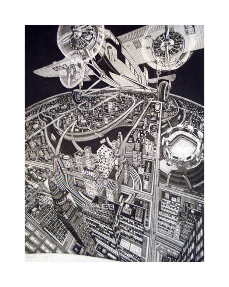 Night Flight intaglio bruce mcCombs the print center large scale