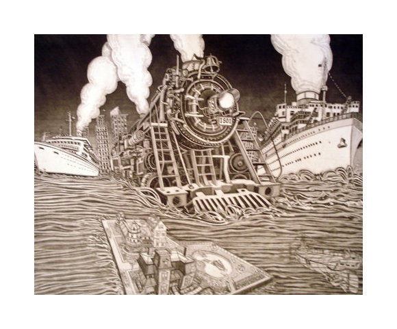 Ocean Express Bruce McCombs Intaglio train illustration the print center