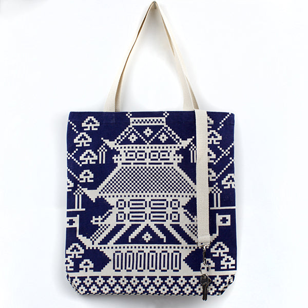 Phone Keys Wallet Tote: Pagoda Kayrock Screenprinting Tote Bag gifts the print center blue and white