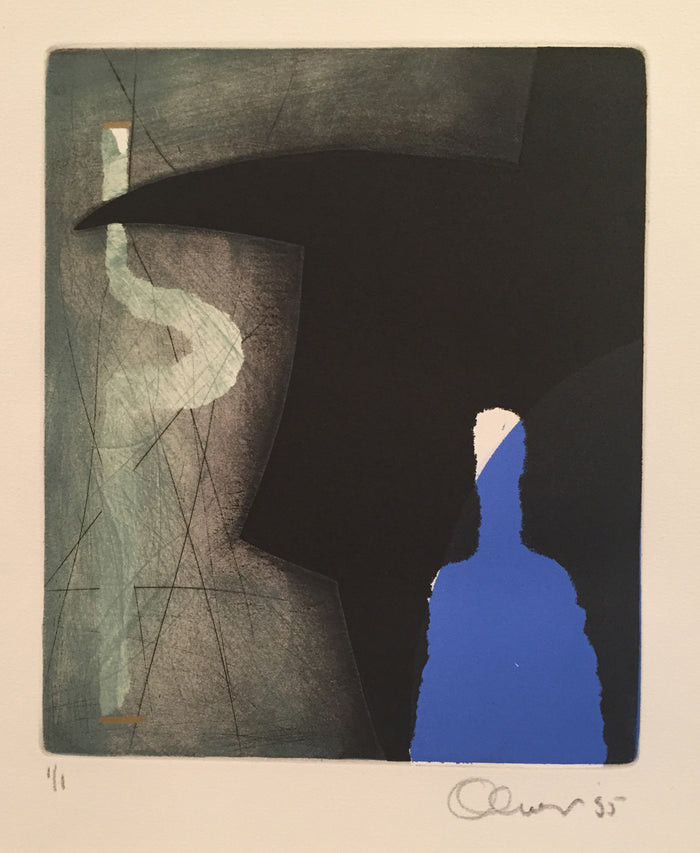 Paper Doll and Bull [a] Perry Oliver Etching the print center figurative color based abstraction