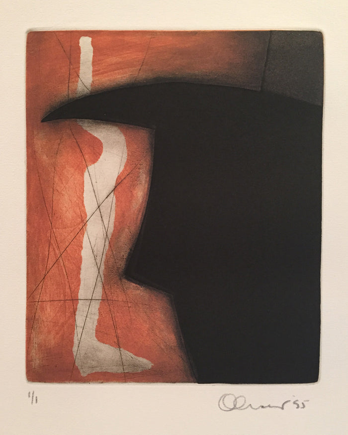 Paper Doll and Bull [b] Perry Oliver Etching the print center figurative color based abstraction