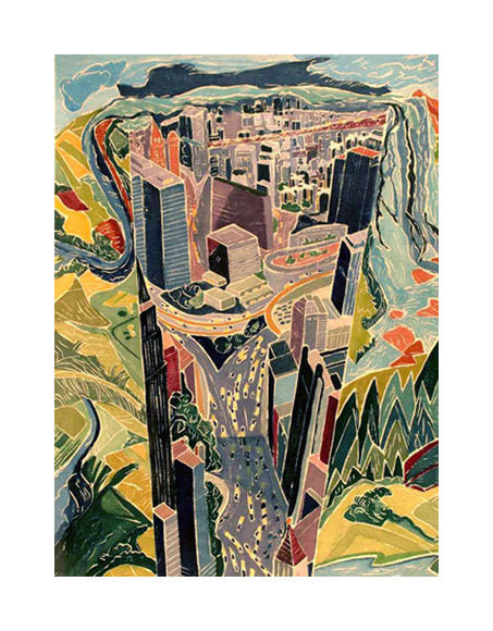Paradox of Place I Aline Feldman Woodcut the print center color based abstraction landscape buildings city series