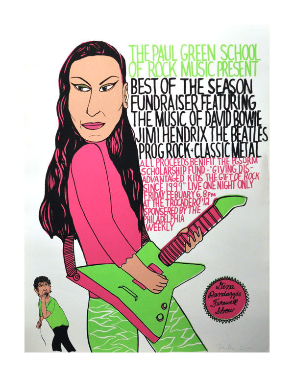 Rock School Gina Silkscreen Thom Lessner made in Philadelphia space 1026 the print center illustration electric guitar music poster