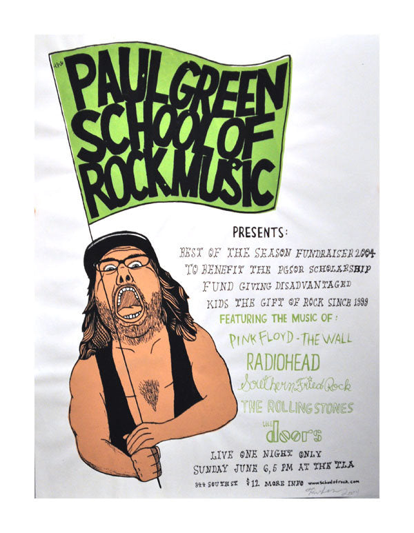 Rock School Roy Thom Lessner music poster flyer the print center made in philadelphia silkscreen flag muisc rock and role