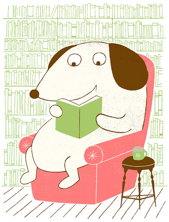 Dog Reading Greg Pizzoli Silkscreen for kids made in philadelphia dog book learning pink chair cartoons