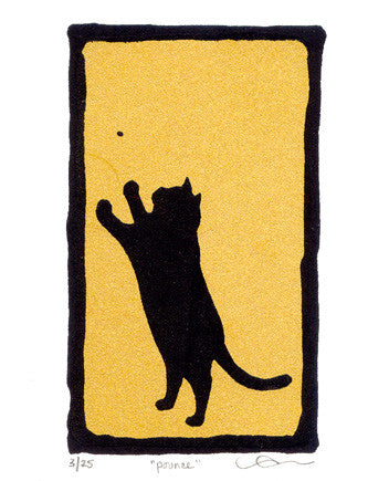 Pounce Marlise Tkaczuk Silkscreen made in philadelphia the print center cat