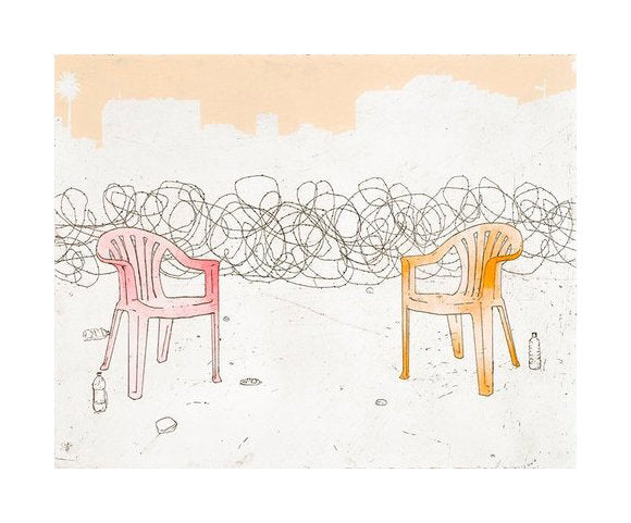 Prisoner's Dilemma Amze Emmons Silkscreen made in Philadelphia lawn chairs Dystopia barbed wire