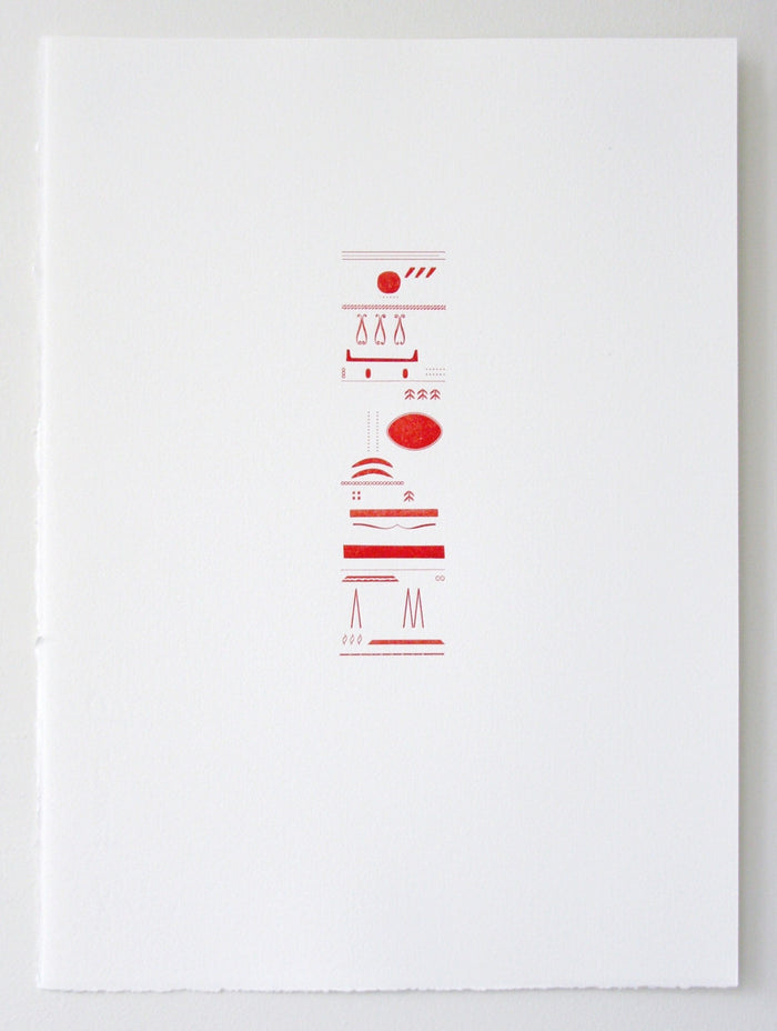 Red Fires Marianne Dages Stacked shapes and lines symbols letterpress Philadelphia