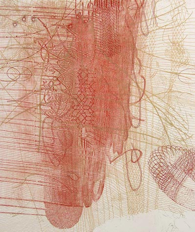 Interference Rosalyn Richards Etching the print center scribbles red doodles shapes swirls energetic mark-making