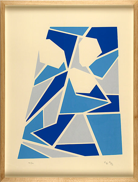 Imperfect union kayrock screenprinting silkscreen the print center abstract monochromatic blue triangles