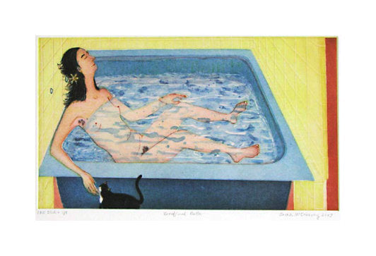 Beneficial Bath Intaglio Aquatint and Drypoint Sarah McEneaney Made In Philadelphia girl bathtub cat The Print Center