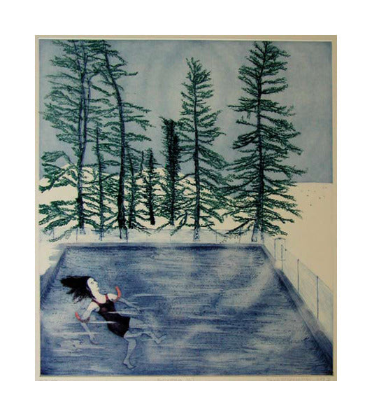 Bozeman Montana Intaglio Aquatint and Drypoint Sarah McEneaney Made In Philadelphia Pool Misty Trees Swimming Floating